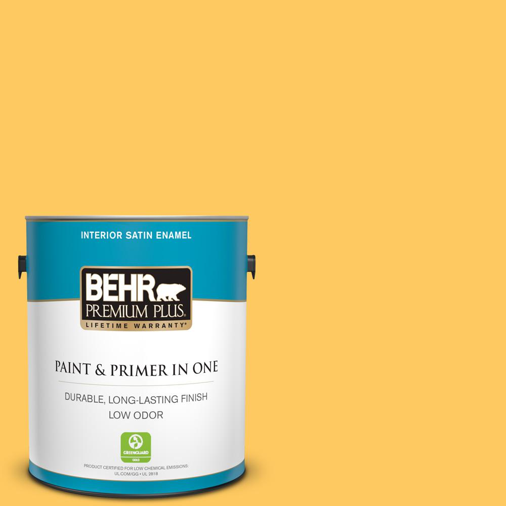 BEHR Premium Plus 1 gal. #P260-6 Smiley Face Satin Enamel Low Odor Interior Paint and Primer in One For a paint that's as versatile as it is beautiful, choose BEHR PREMIUM PLUS Low Odor, Paint & Primer in One Satin Enamel Interior paint. This rich, all-surface sheen is great for any room in the house! The pearl-like finish makes it perfect for adding a pop of color to both walls and trim. Color: Smiley Face.