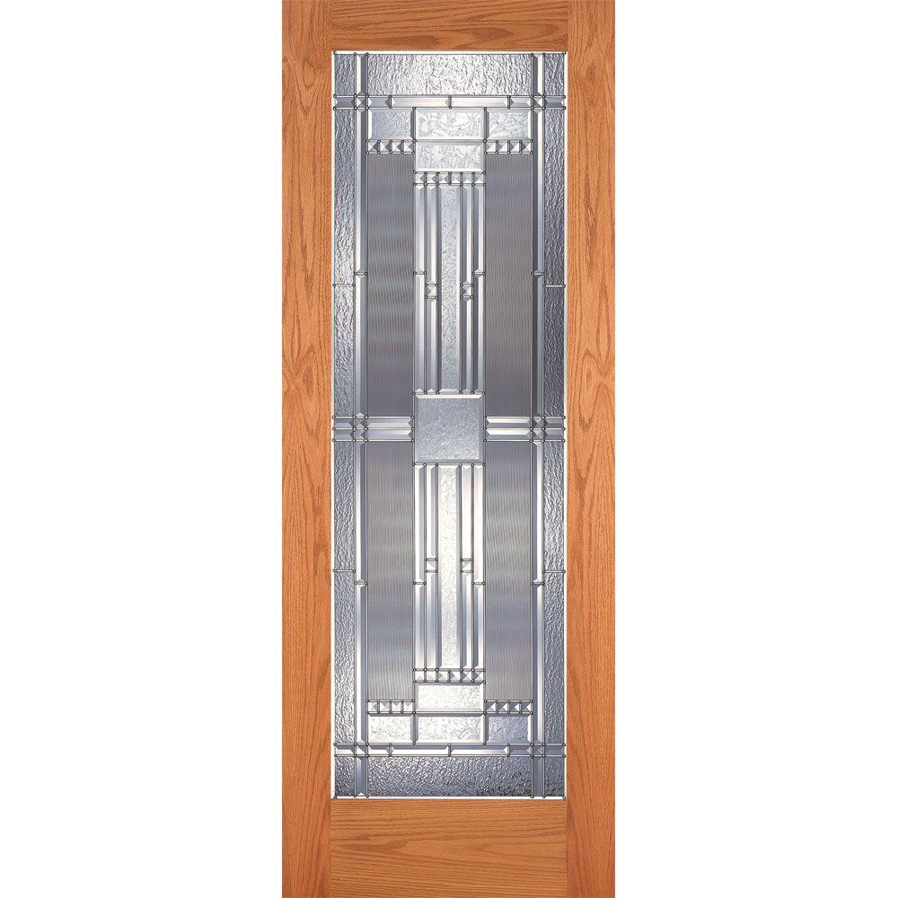 Feather River Doors 30 in. x 80 in. 1 Lite Unfinished Oak Preston Zinc Woodgrain Interior Door Slab