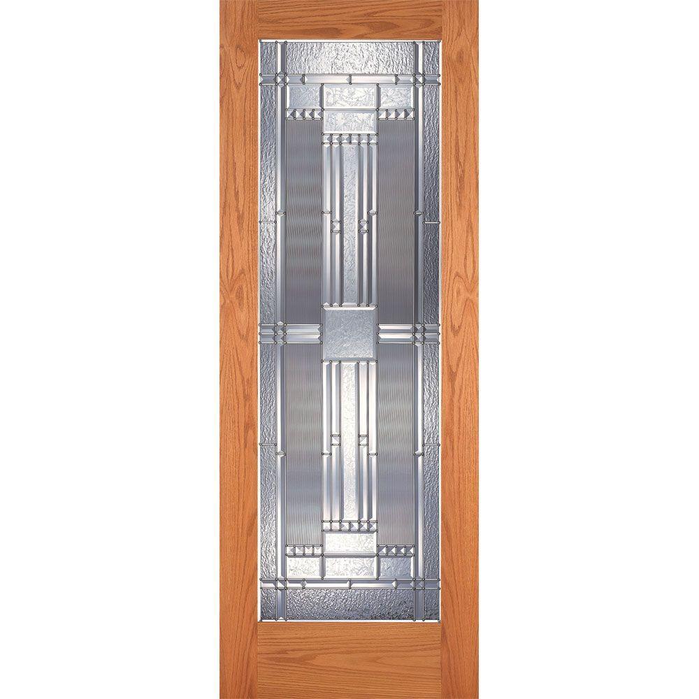 Feather River Doors 36 in. x 80 in. 1 Lite Unfinished Oak Preston Zinc Woodgrain Interior Door Slab