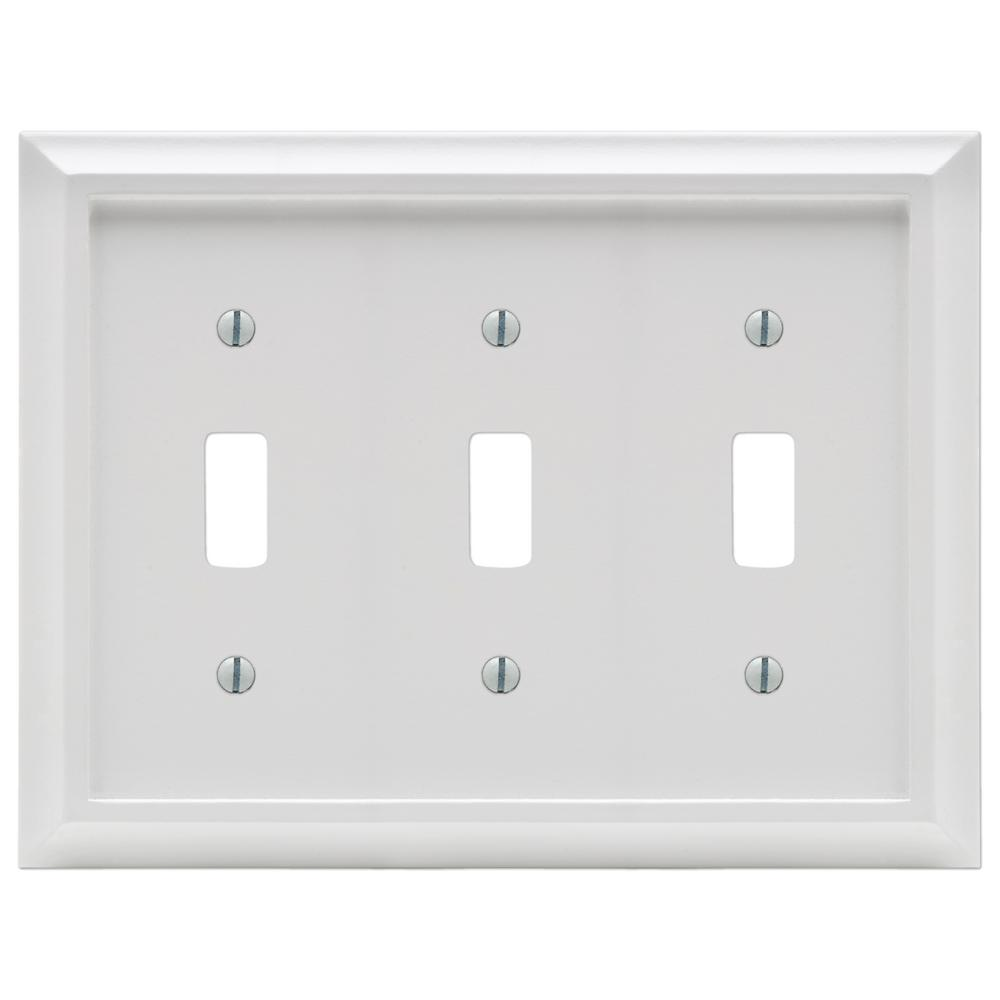 Amerelle Deerfield 3 Gang Toggle Wall Plate White