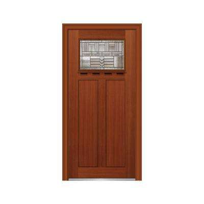 36 in. x 80 in. Oak Park Right-Hand 1-Lite Decorative Craftsman Stained Fiberglass Fir Prehung Front Door w/ Shelf