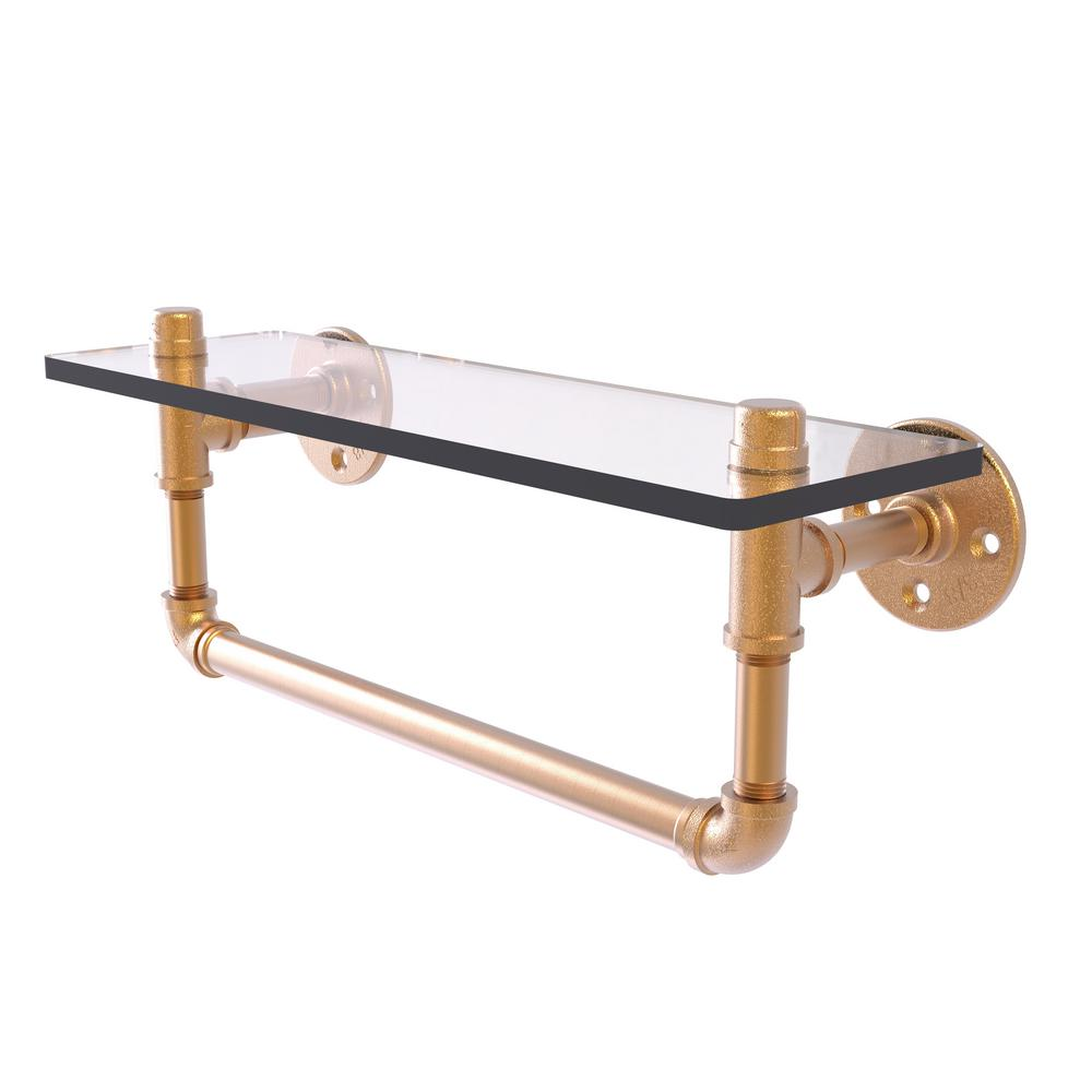 Allied Brass Pipeline Collection 16 in. Glass Shelf with Towel Bar ...