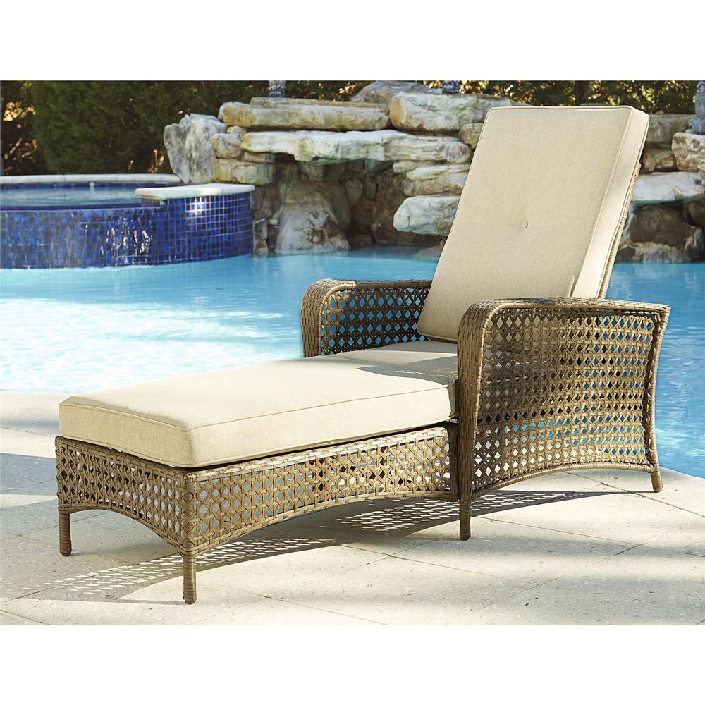 Lakewood Ranch Brown Adjule Steel Woven Patio Wicker Outdoor Chaise Lounge Chair With Cushion