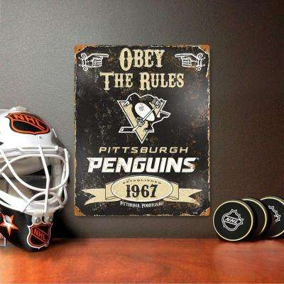 14.5 in. H x 11.5 in. D Heavy Duty Steel Pittsburgh Penguins Embossed Metal Sign Wall Art