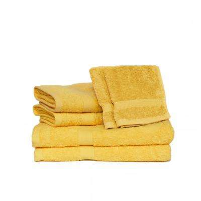 Deluxe 6-Piece Cotton Terry Bath Towel Set in Canary