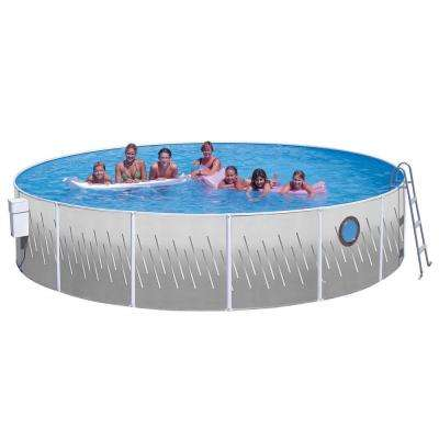Seaview Club 18 ft. x 42 in. Round Pool Package with Porthole