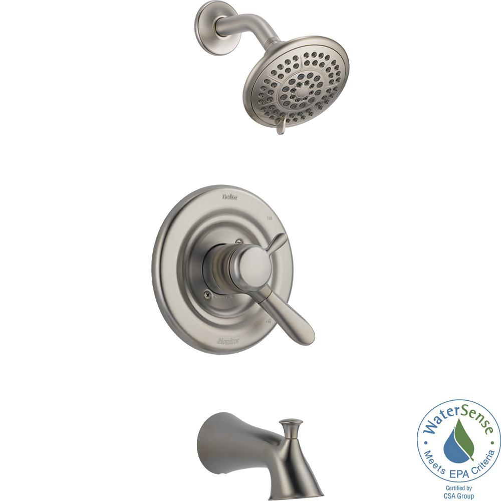 Delta Lahara 1-Handle Tub and Shower Faucet Trim Kit in Stainless ...