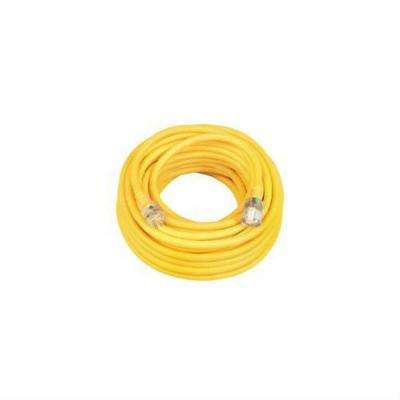 50 ft. 14/3 SJEOW Outdoor T-Prene Extension Cord with Power Indicator Light - Yellow