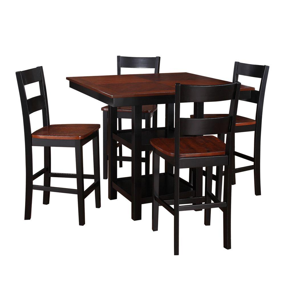 HomeSullivan Doric 5-Piece Counter Height Wood Dining Set in Black and Cherry