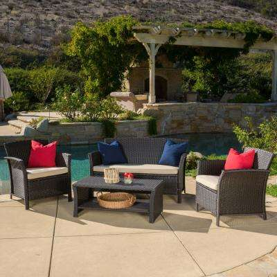 Santa Lucia Brown 4-Piece Wicker Patio Conversation Set with Beige Cushions