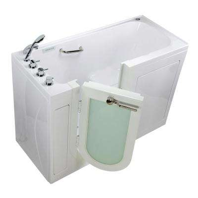 Lounger 60 in. Acrylic Walk-In Whirlpool and Air Bath Bathtub in White, Thermostatic Faucet Set, LHS 2 in. Dual Drain