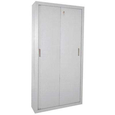 72 in. H x 36 in. W x18 in. D Freestanding Steel Sliding Door Cabinet in Dove Gray