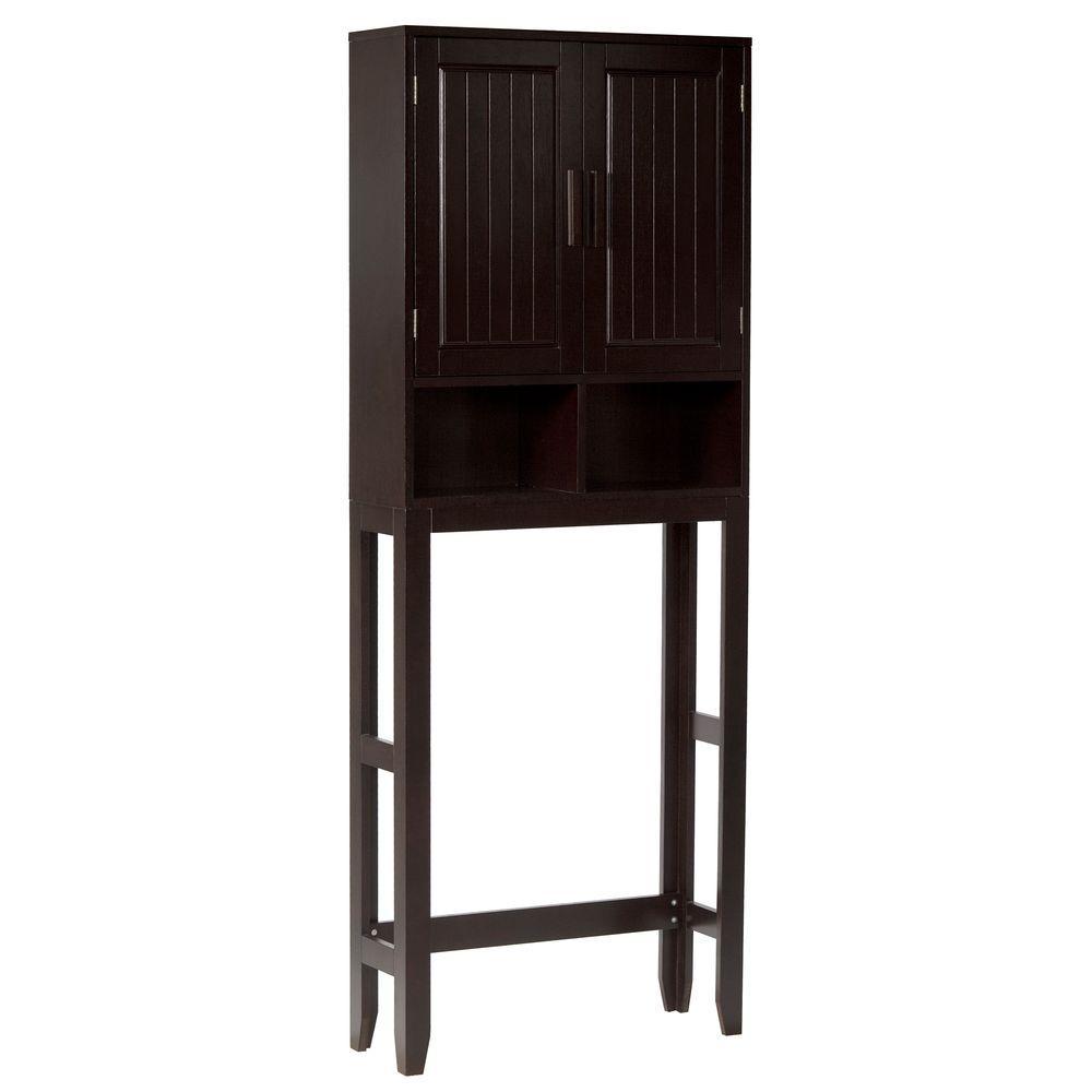 Elegant Home Fashions Americana 25 in. W x 66 in. H x 8-1/2 in. D 2-Door Over the Toilet Storage Cabinet in Dark Espresso