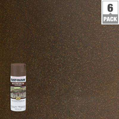 12 oz. Protective Enamel Multi-Colored Textured Autumn Brown Spray Paint (6-Pack)