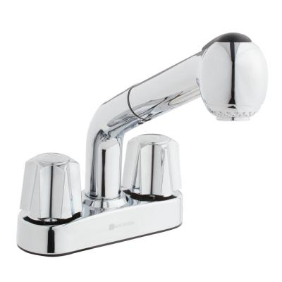 4 in. Centerset 2-Handle Pull-Out Sprayer Laundry Faucet in Chrome