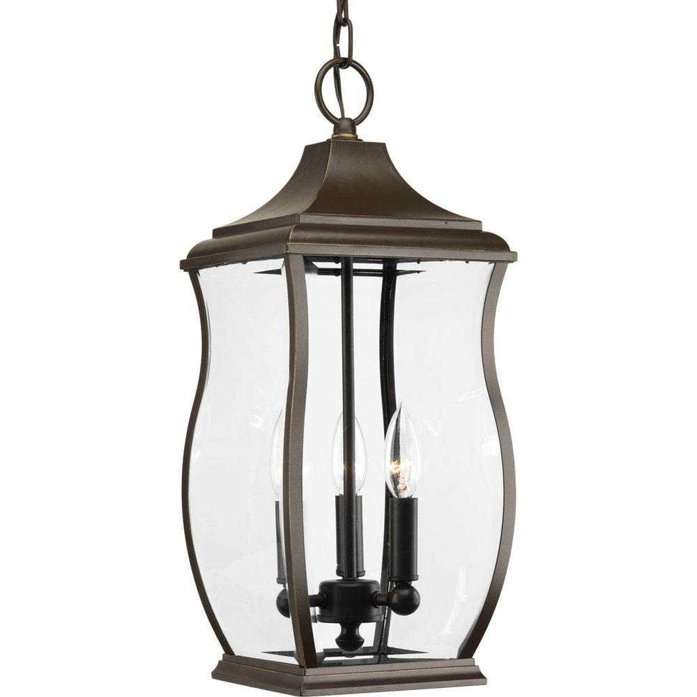 size 40 f07ba 28315 Progress Lighting Township Collection 3-Light Outdoor Oil-Rubbed Bronze  Hanging Lantern