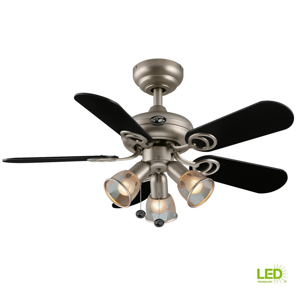 Hampton Bay San Marino 36 in. LED Indoor Brushed Steel Ceiling Fan with  Light Kit