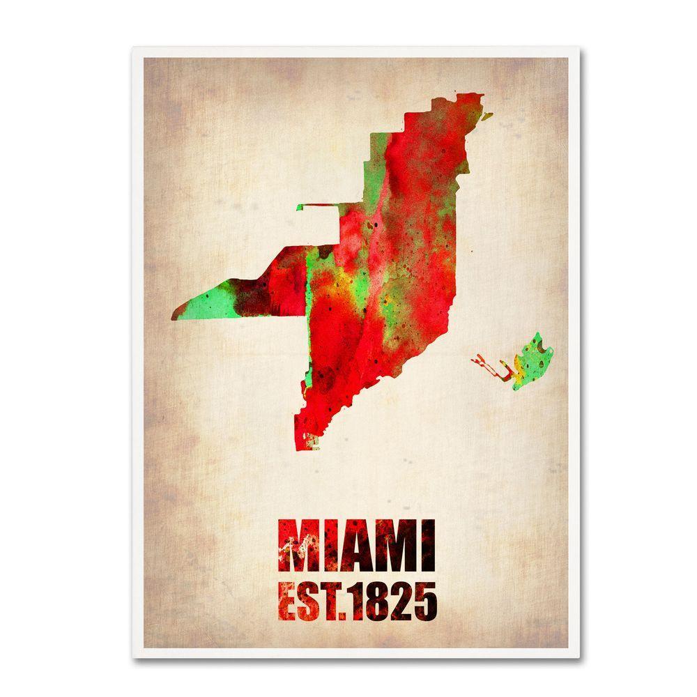 24 in. x 18 in. Miami Watercolor Map Canvas Art