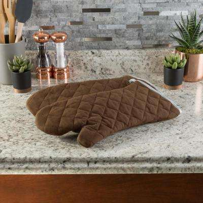 Quilted Cotton Chocolate Heat/Flame Resistant Oversized Oven Mitts (2-Pack)