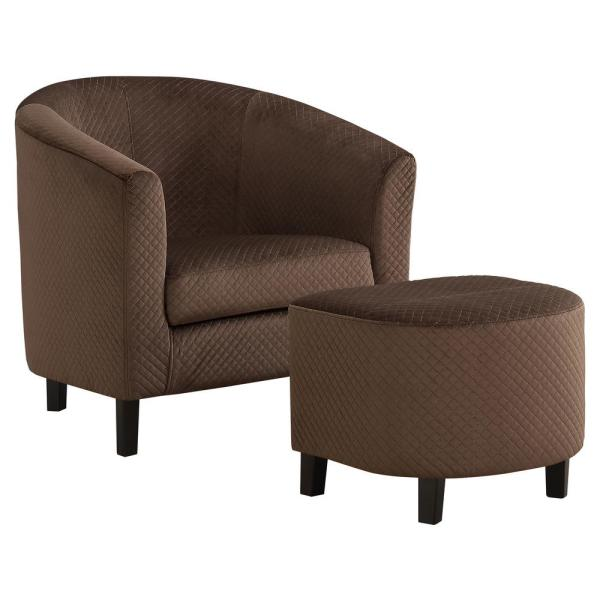 Dark Brown Quilted Fabric 2-Piece Accent Chair
