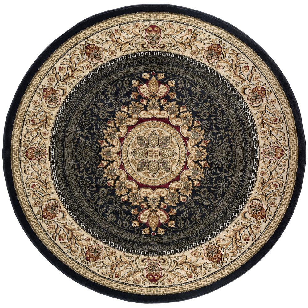Tayse Rugs Sensation Black 5 ft. 3 in. Traditional Round Area Rug