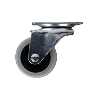 2 in. Medium Duty Gray TPR Swivel Plate Caster with 90 lbs. Weight Capacity