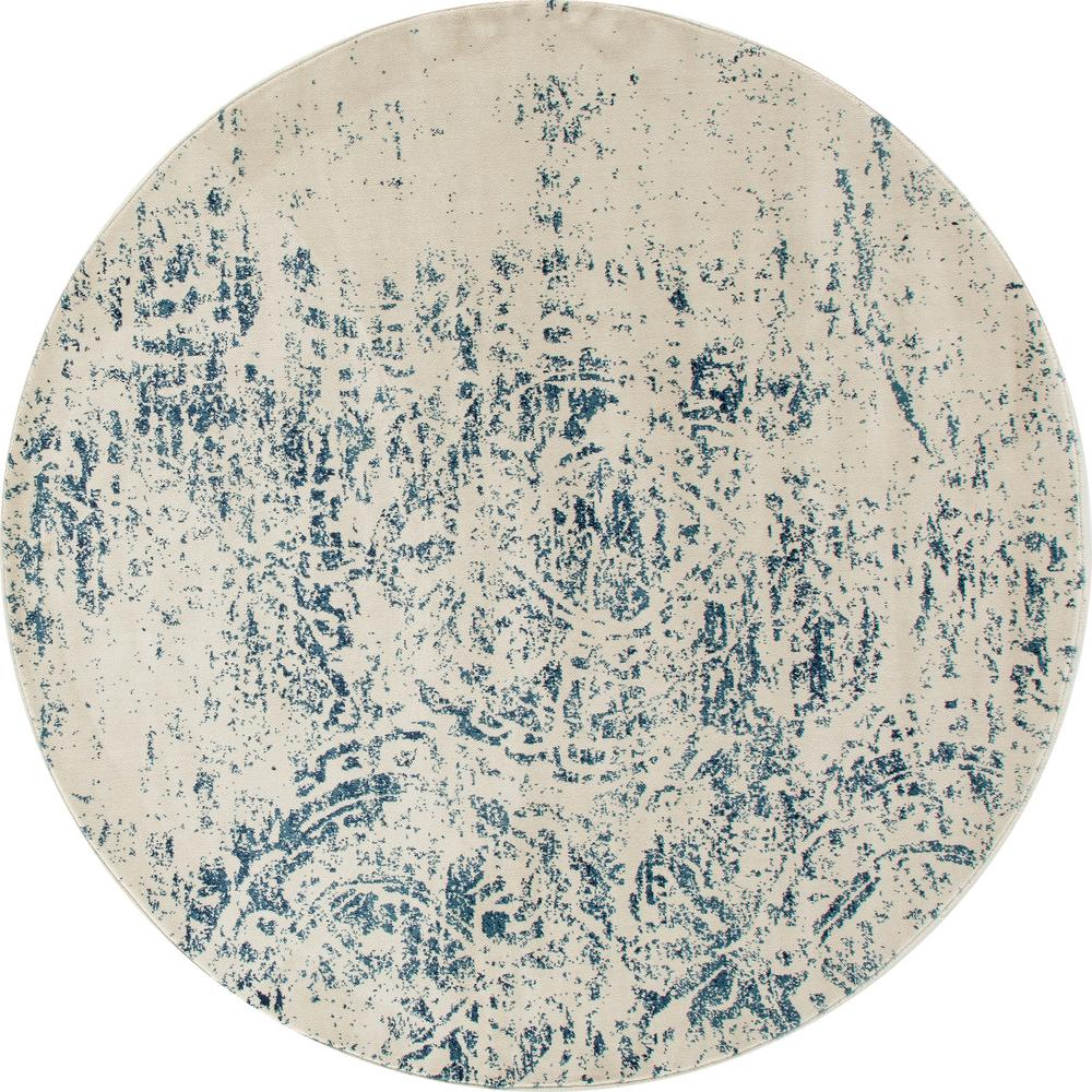 Karelia Weathered Block Blue 8 ft. x 8 ft. Round Area