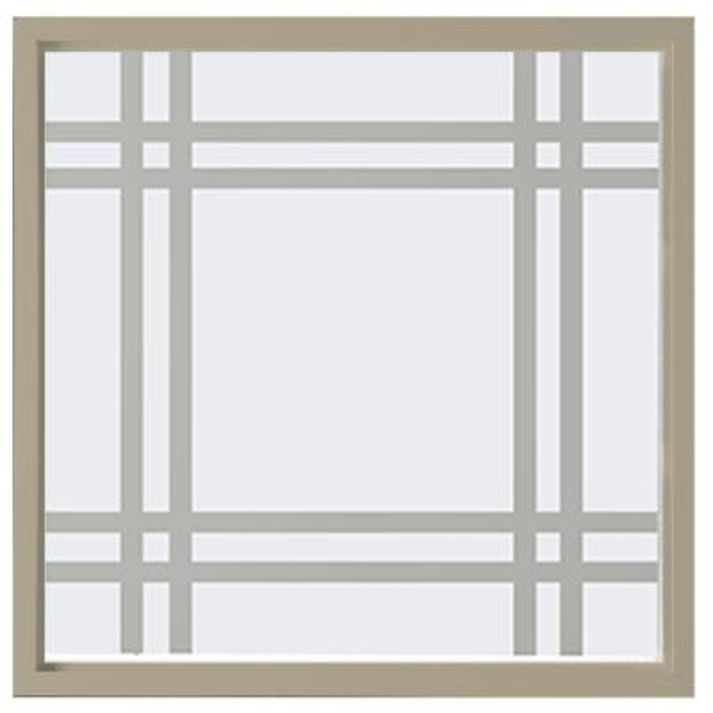 23.5 in. x 23.5 in. Prairie Decorative Glass Picture Vinyl Window - Tan