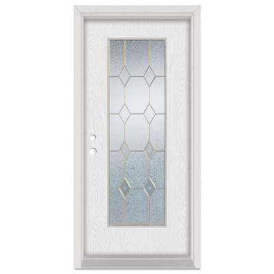 36 in. x 80 in. Geometric Right-Hand Brass Finished Fiberglass Oak Woodgrain Prehung Front Door Brickmould
