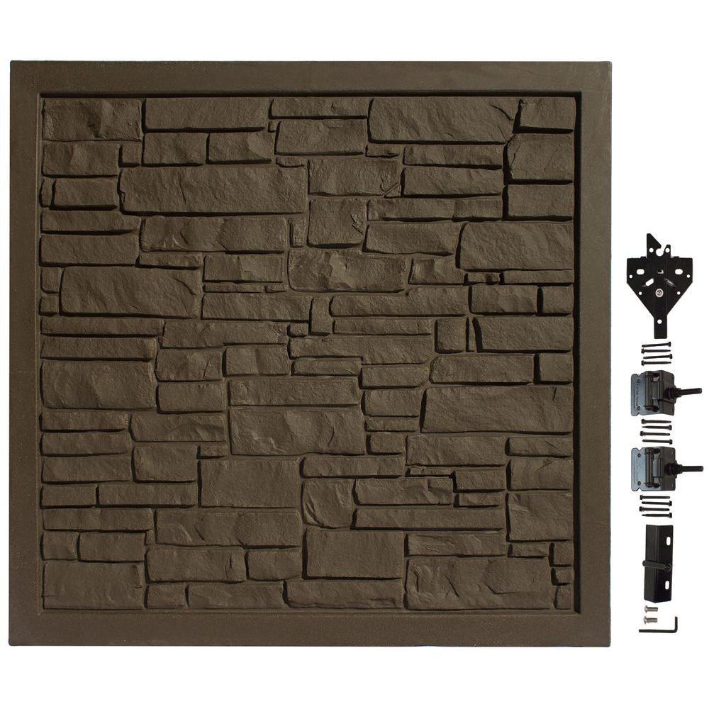 SimTek 6 ft. W x 6 ft. H EcoStone Dark Brown Composite Privacy Fence Gate