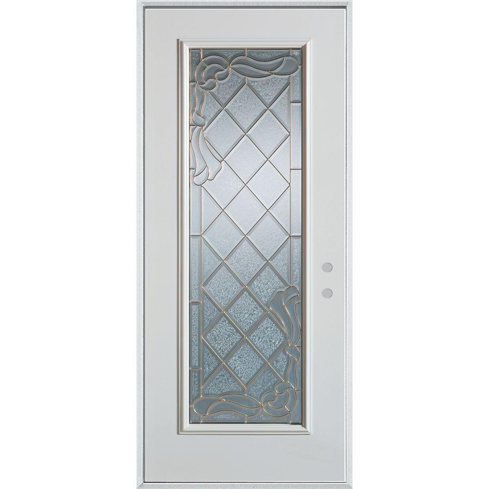 Stanley Doors 33.375 in. x 82.375 in. Art Deco Full Lite Painted White Left-Hand Inswing Steel Prehung Front Door