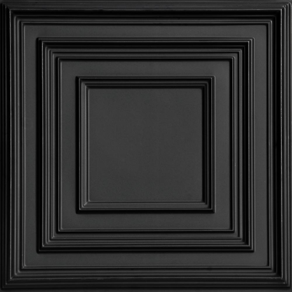 From Plain To Beautiful In Hours Schoolhouse 2 ft. x 2 ft. PVC Glue-up or Lay-in Ceiling Tile in Black