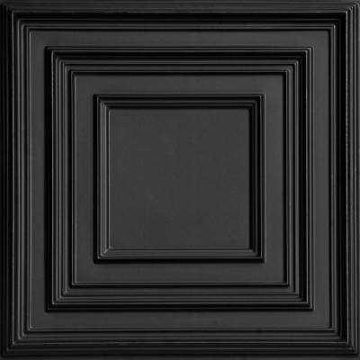 Schoolhouse 2 ft. x 2 ft. PVC Glue-up or Lay-in Ceiling Tile in Black
