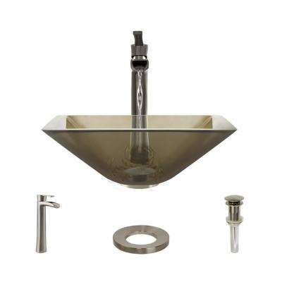 Glass Vessel Sink in Cashmere with R9-7007 Faucet and Pop-Up Drain in Brushed Nickel
