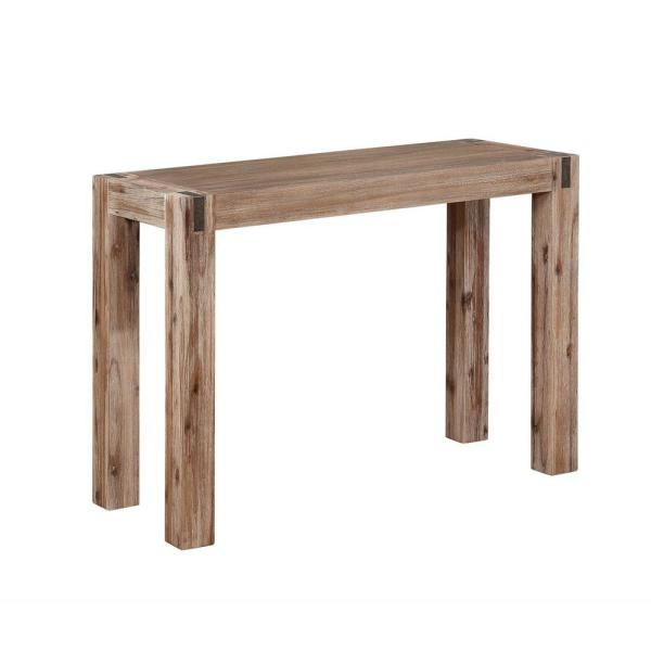 Alaterre Furniture Woodstock Brushed Driftwood Wood with Metal Inset Media Console Table