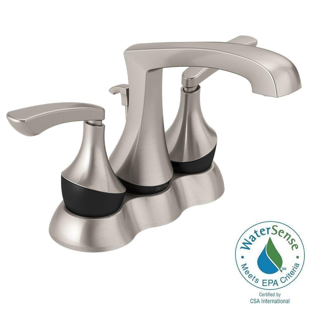 Delta Merge 4 in. Centerset 2-Handle Bathroom Faucet in SpotShield ...