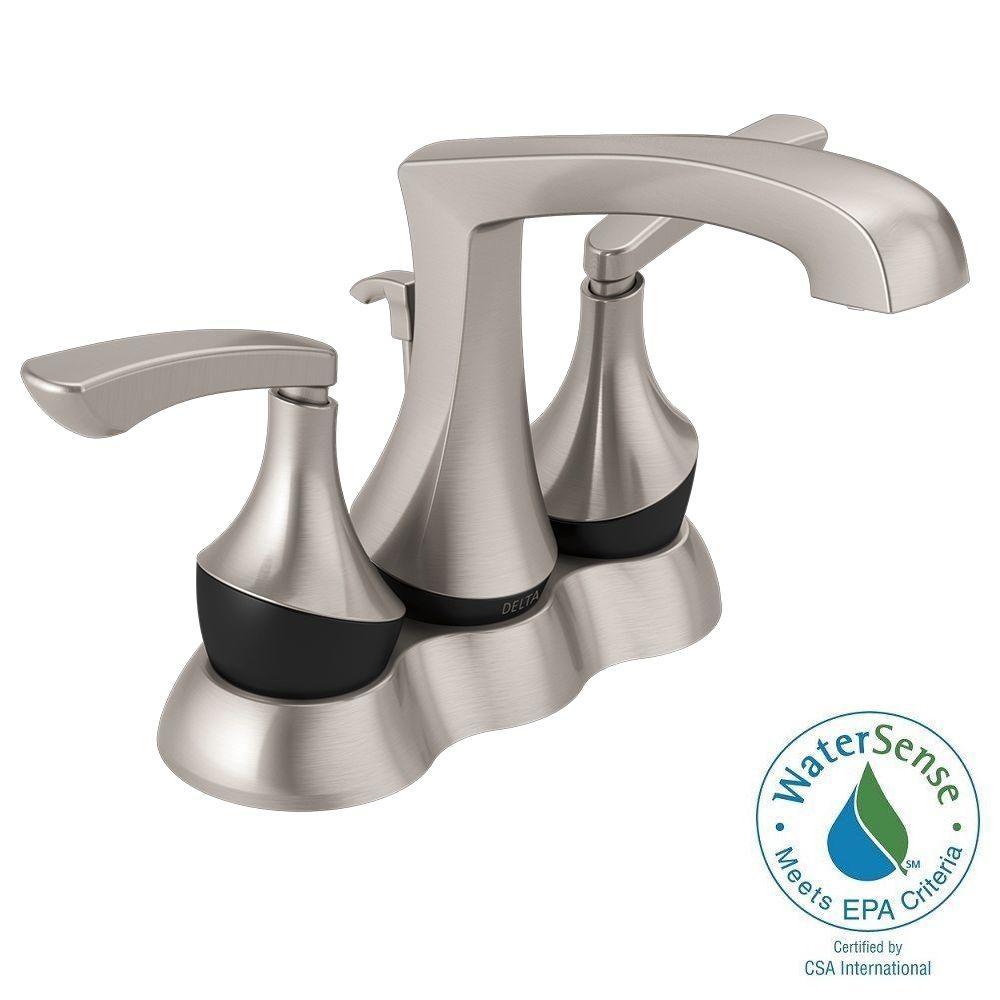Merge 4 in. Centerset 2-Handle Bathroom Faucet in SpotShield Brushed Nickel/Matte Black