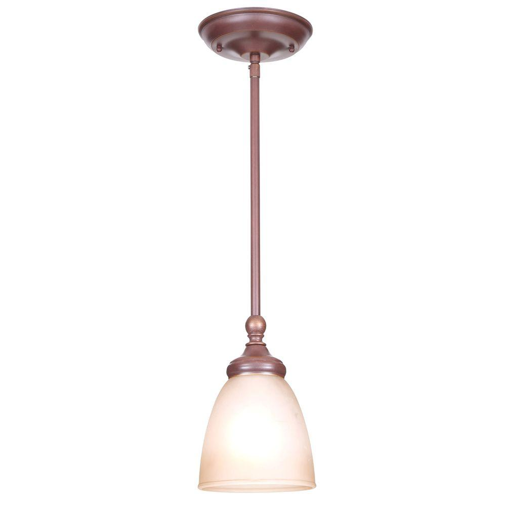 Hampton bay bronze pendant lights lighting the home depot bristol 1 light nutmeg bronze mini pendant with tea stained glass shade aloadofball