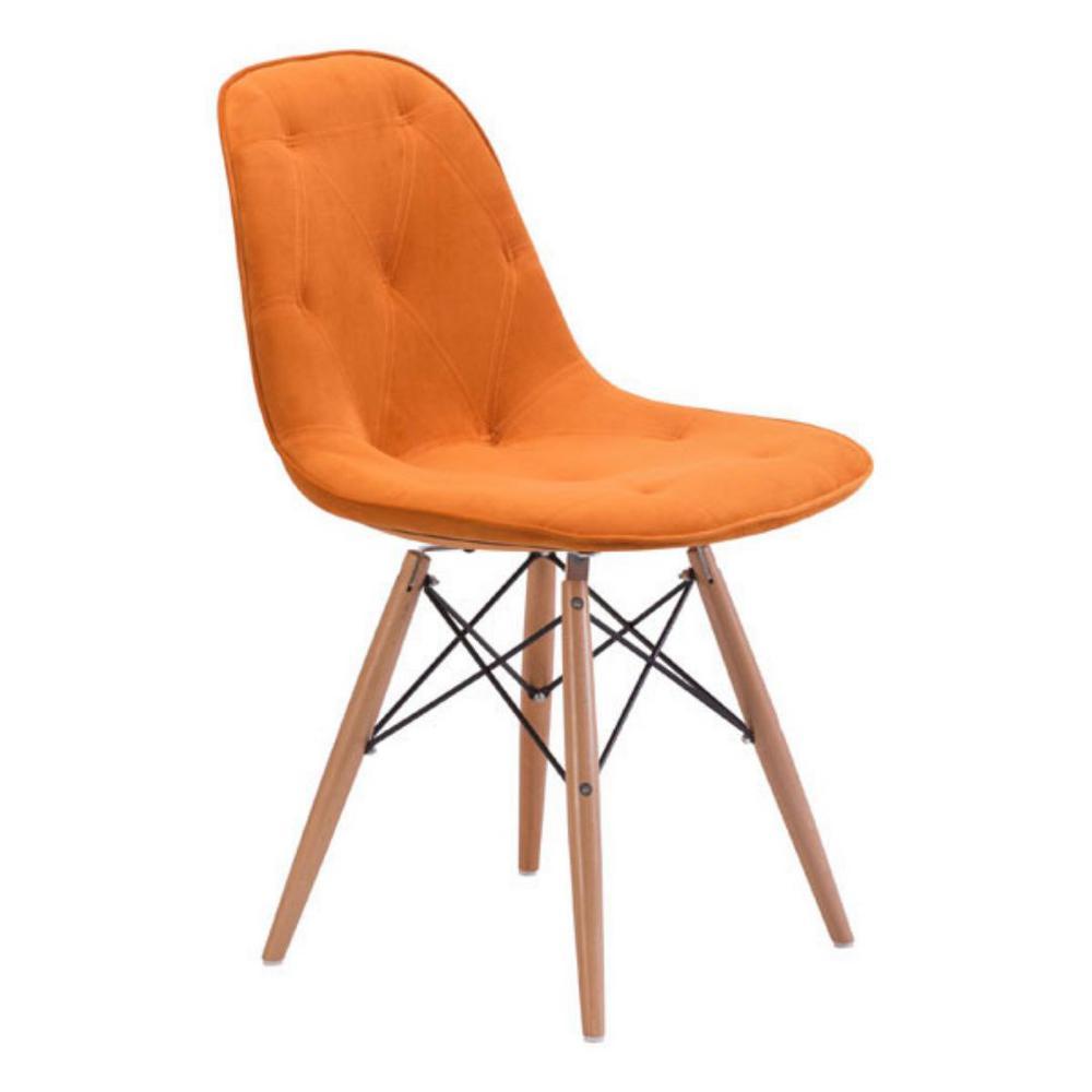 Julia Orange Velour Dining Chair (Set of 1)