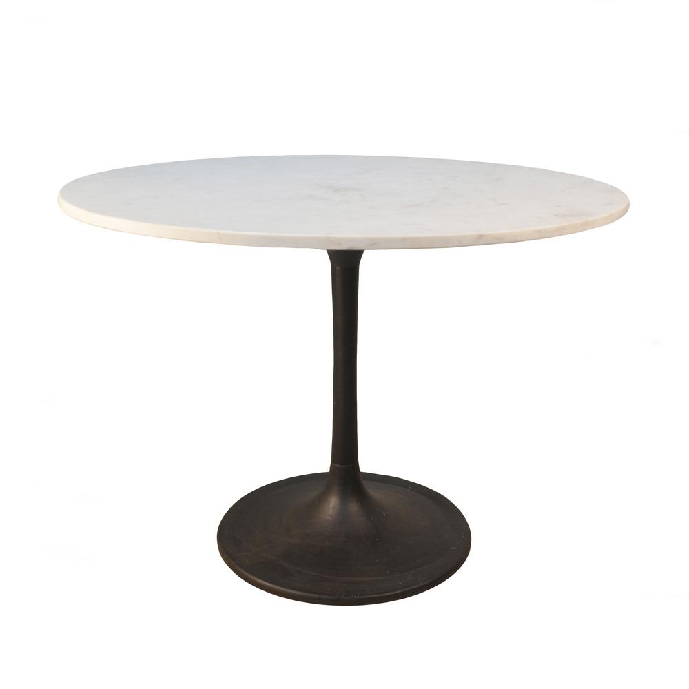 Enzo Black Round Marble Top Dining Table Mt4040 Blk The Home Depot