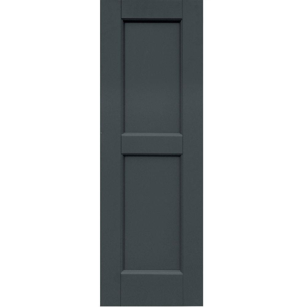 Winworks Wood Composite 12 in. x 36 in. Contemporary Flat Panel Shutters Pair #663 Roycraft Pewter