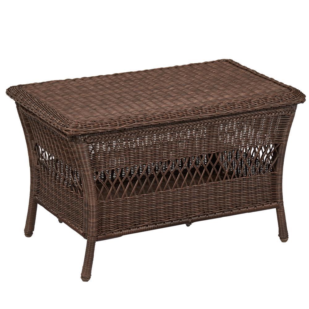 Hampton bay park meadows brown outdoor trunk table 65 for Outdoor trunk coffee table