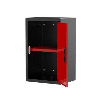 Pre Assembled 24 in. H x 15 in. W x 12 in. D Steel Wall Cabinet in Black/Red