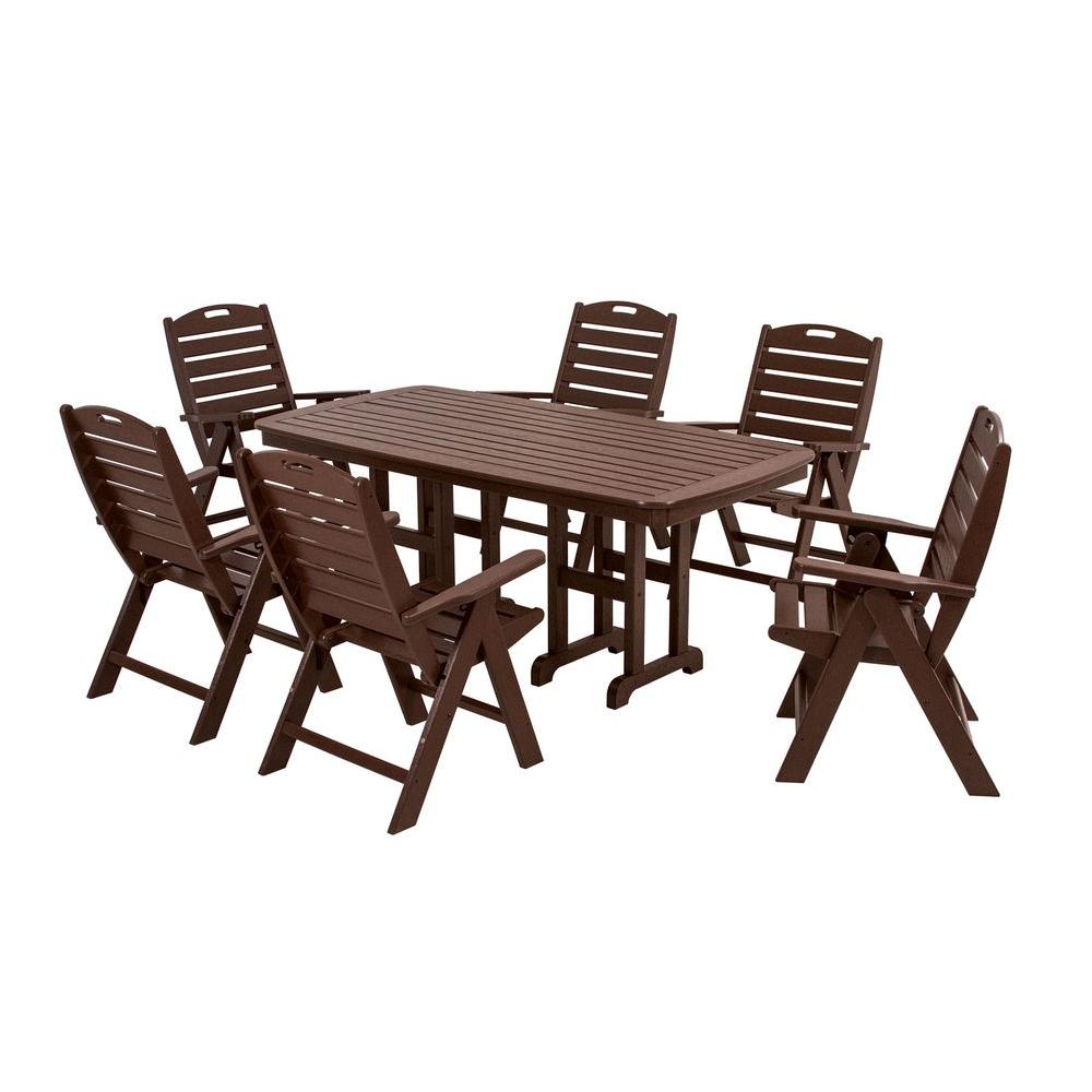 POLYWOOD Nautical Mahogany 7-Piece Patio Dining Set