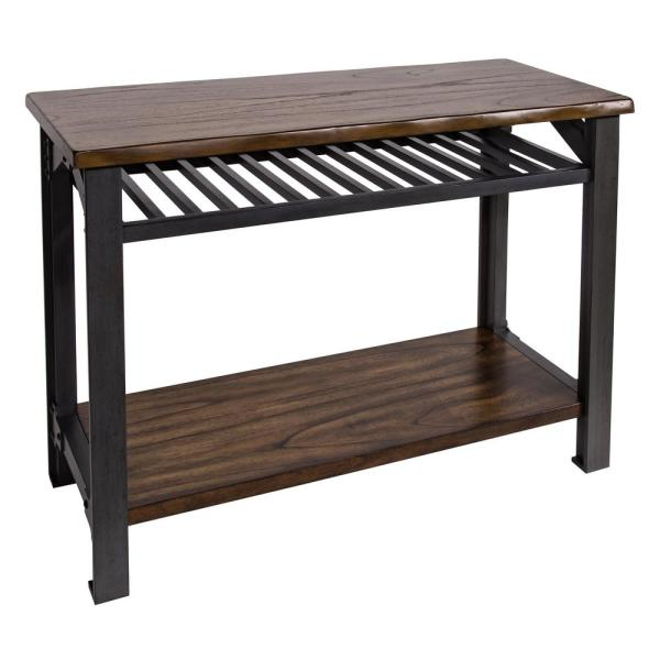 Bethel 47 in. Graphite Gray/Brown Standard Rectangle Wood Console Table with Storage