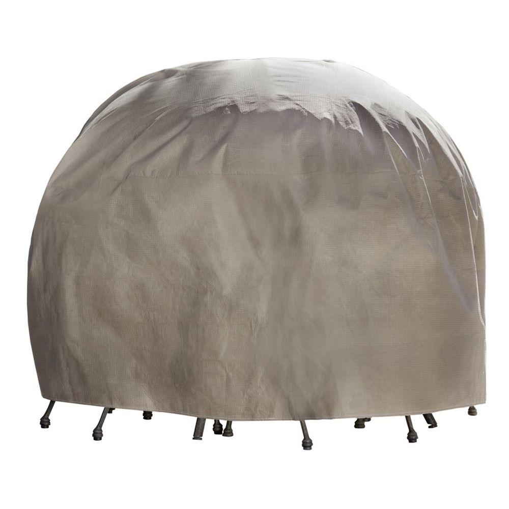 Duck Covers Elite 108 in. Round Patio Table and Chair Set Cover with Inflatable Airbag to Prevent Pooling