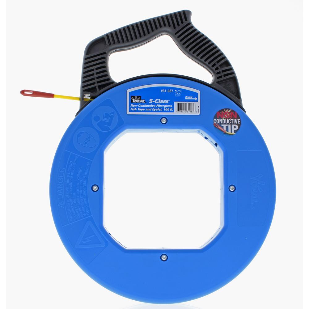 Ideal tuff grip pro 100 ft s class fiberglass fish tape for Fish tape home depot