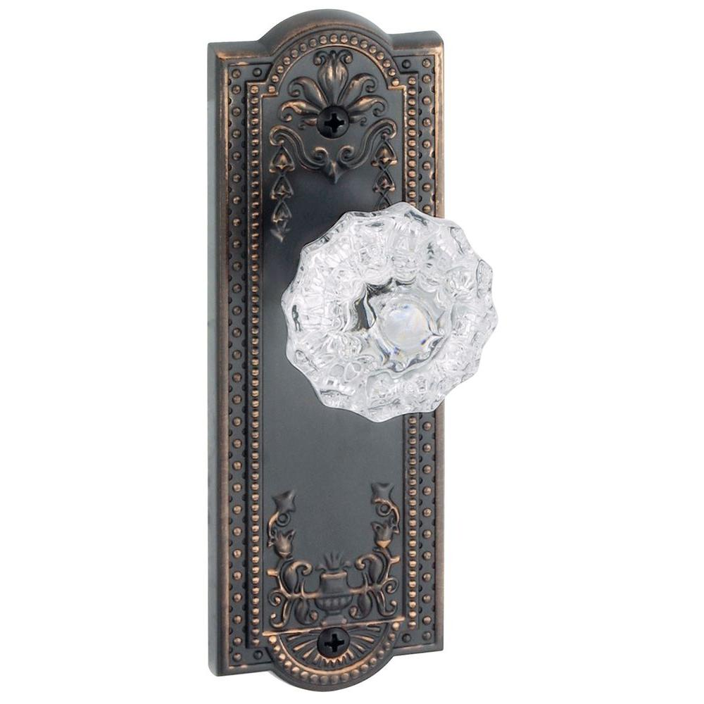 Grandeur Parthenon Timeless Bronze Plate with Privacy Fontainebleau Crystal Knob