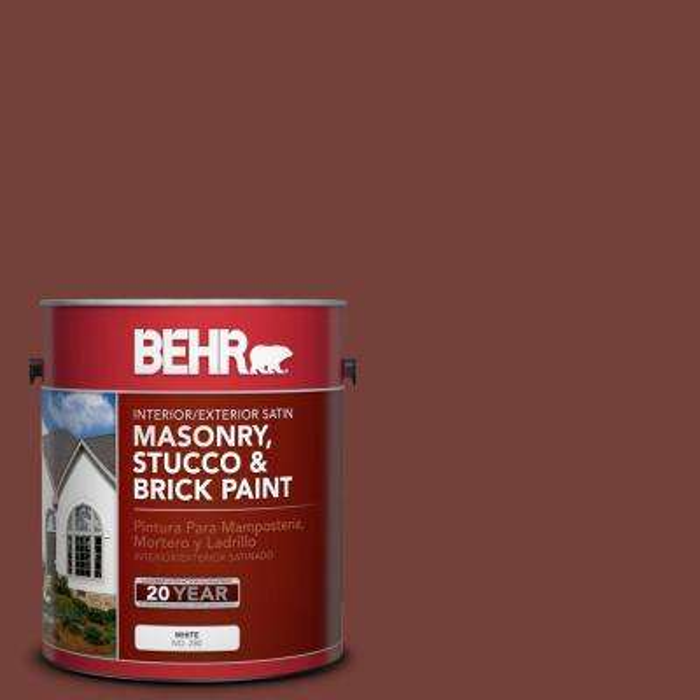 1 gal. #S170-7 Dark Cherry Mocha Satin Interior/Exterior Masonry, Stucco and Brick Paint