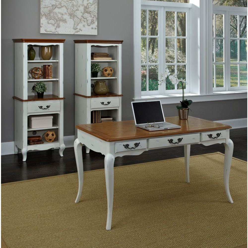 Home Styles Distressed oak and Rubbed White Desk, Distres...